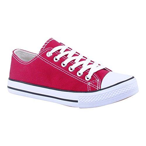 Herren Damen Sneaker Sportschuhe Lauf Canvas Freizeit Fitness Low Unisex Schuhe Bordeaux/Damen