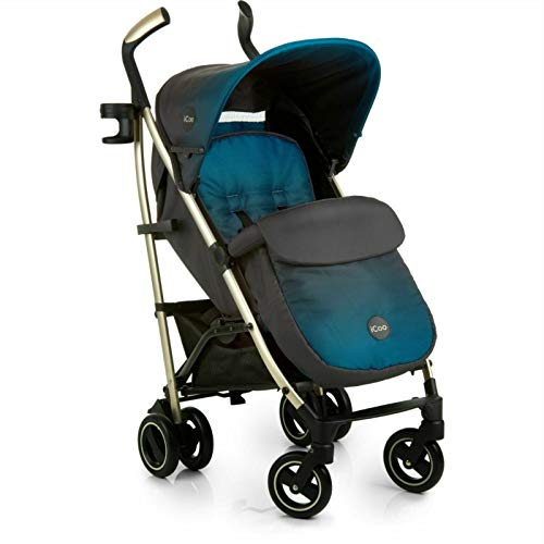 New Hauck Icoo I'coo Pace Pushchair Buggy Pram+Raincover+Cosytoes Indigo Blue