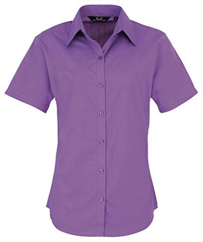 La popelín de manga corta blusa de las mujeres, señoras, camisa de trabajo morado Rich Violet 48