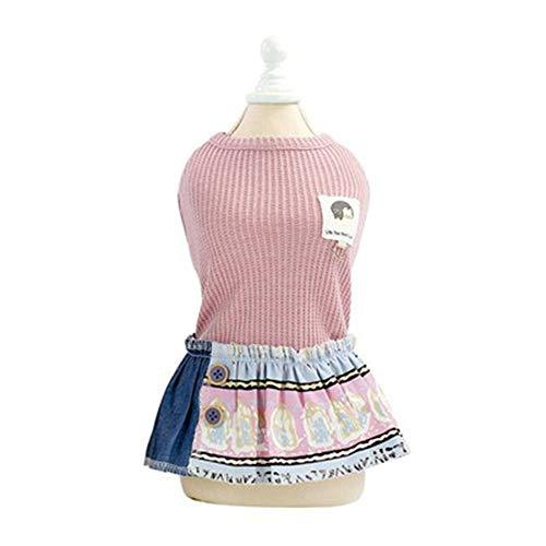 WANG Pet Abbigliamento, Cotone Primavera e L'Estate del Cane dei Vestiti del Vestito di Stile Etnico Pet Abbigliamento Teddy Bear Costume Gattino (Size : M)