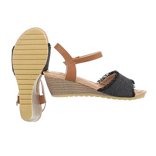 Ital-Design Chaussures Femme Sandales Compensé Sandales Compensees Noir