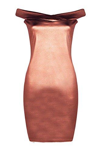 Femmes Bronze Tall Belle Robe Métallique À Épaules Dénudées Bronze