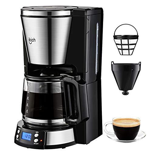 Macchina Caffè Americano, IKICH Macchina per Caffè Elettrica 12 Tazze Caffettiera Americana Programmabile con Display LED, Temporizzatore e Filtro Permanente 1000W 24 x 28 x 44cm