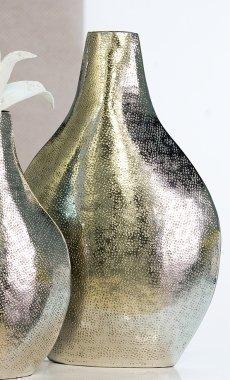 XXL Designer-Vase Loft aus Metall · champagnerfarben glänzend Höhe 51 cm · Breite 34 cm
