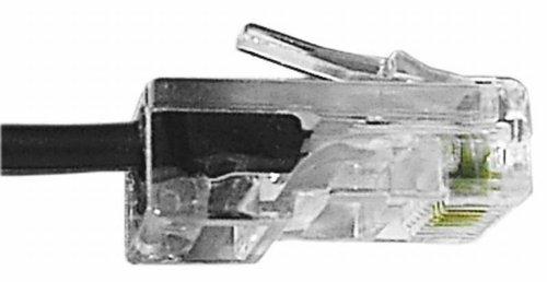 Preisvergleich Produktbild VSE 612134 Modular-Anschlusskabel RJ45, 8/4 RJ45-Stecker auf RJ45-Stecker, 8P4C, 30 m Länge, Schwarz