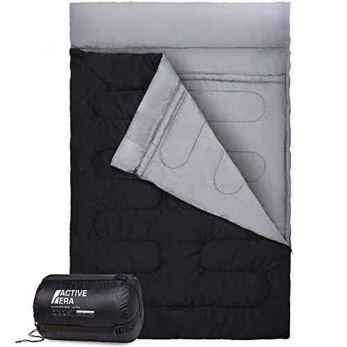 Active EraTM XL Schlafsack für 2 Personen - Großer Deckenschlafsack der in 2 Einzel Schlafsäcke geteilt werden kann - Ideal für Camping, Wandern, Zelten, Paare