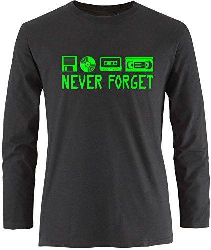 EZYshirt® Never forget Herren Longsleeve Schwarz/Neongrün