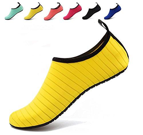 BOLOG Junge Aqua Schuhe Kinder Badeschuhe Schwimmschuhe Barefoot Schuhe Wasserschuhe Surfschuhe Sportschuhe Strandschuhe Schnorcheln Barfuß Schuhe für Mädchen Damen Sommer Gelb40/41