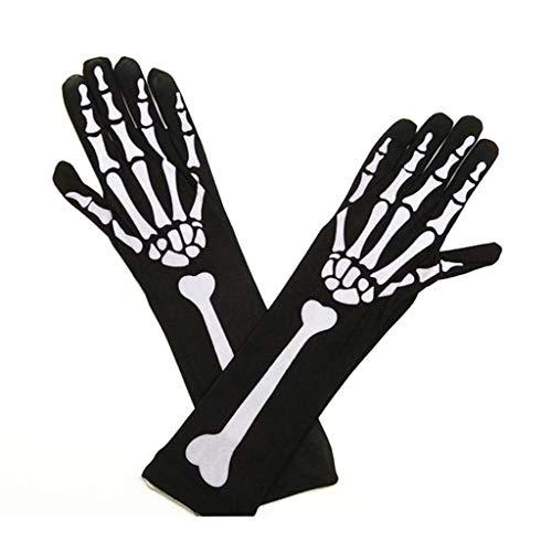 Ranuw 1610/5000 Halloween Cosplay Schädel Skelett Knochen Handschuhe Oberschenkel Hohe Strümpfe Socken für Frauen (Handschuhe)