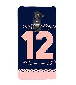 PrintVisa Patterened Number Twelve 12 3D Hard Polycarbonate Designer Back Case Cover for LG G2 :: LG G2 D800 D802 D801 D802TA D803 VS980 LS980