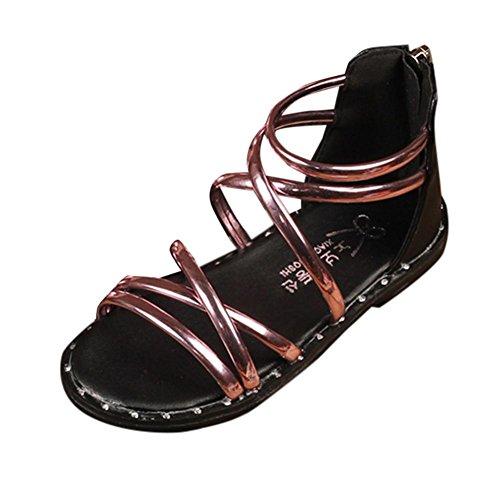 LiucheHD Scarpine neonato Estate bambini infantili capretti ragazze  cerniera romana sandali avvio scarpe da spiaggia principessa Bocche di  pesce in pelle ... f497610dfd2
