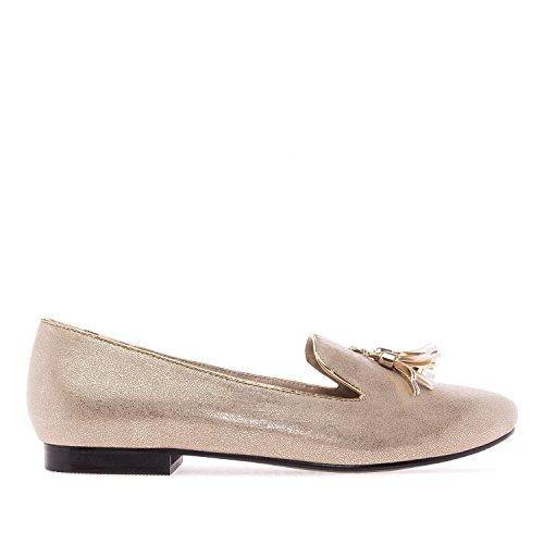 Andres Machado. AM5143.Chaussures Plates en suèdine. Grandes Pointures 42/45. Doré