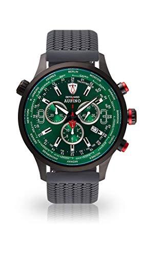 DETOMASO AURINO Uomo Orologio Cronografo Analogico Cinturino in silicone grigio quarzo quadrante verde DT1061-K-772