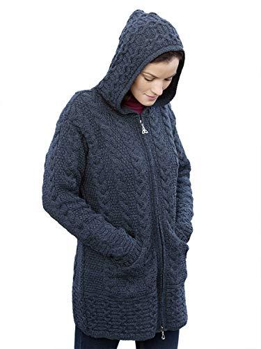 100% Merino Wolle Aran Crafts Damen Reißverschluss Zick-Zack Jacke, Holzkohle Farbe (S) -