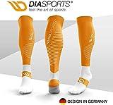 Diasports® RUNSTARTS Kompressionsstrümpfe - Deine Kompressionssocken für Marathon, Triathlon, Trailrunning - 100% Compression Socks für Kompression beim Laufen (Kniestrümpfe Damen/Herren) (Orange, M)