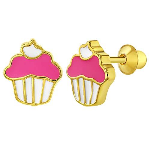 In Season Jewelry Mädchen - Schraubverschluss Ohrringe Emaille Cupcake Rosa 18k Vergoldet