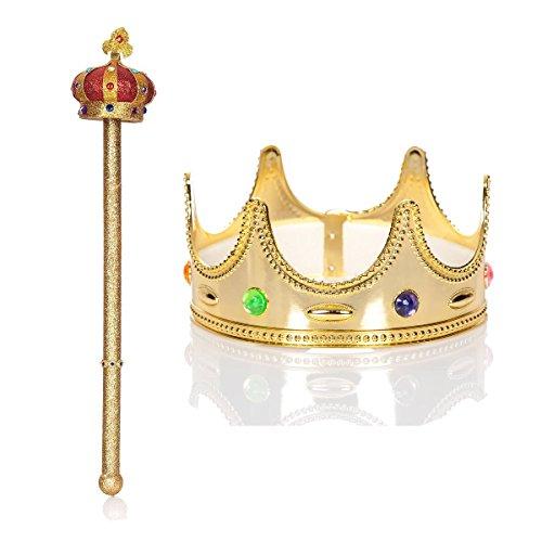 Kostümplanet® Königskrone mit Zepter Herren König Kostüm Zubehörset (Krone Und Zepter Kostüm)