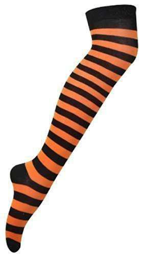 Long Horizontal Stripe Print Ladies Thigh High Striped Patterned Overknee Socks Orange & Black (Halloween-socken)