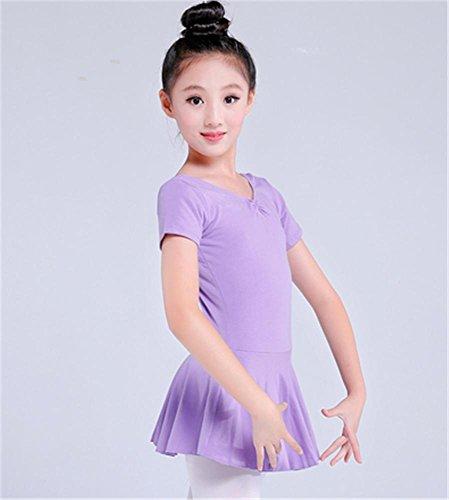 Leotard d'entraînement de ballet pour enfants confortable / manches longues / manches courtes Violet