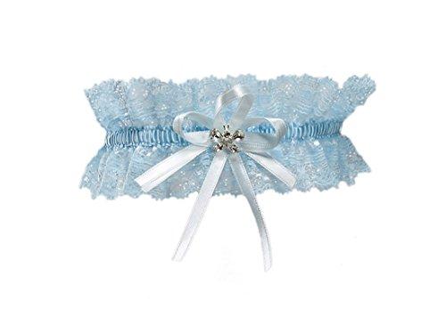 Elastisches Brautstrumpfband - Must Have zur Hochzeit - Mit funkelnden Kristallen in Schmetterlingsform - BLAU
