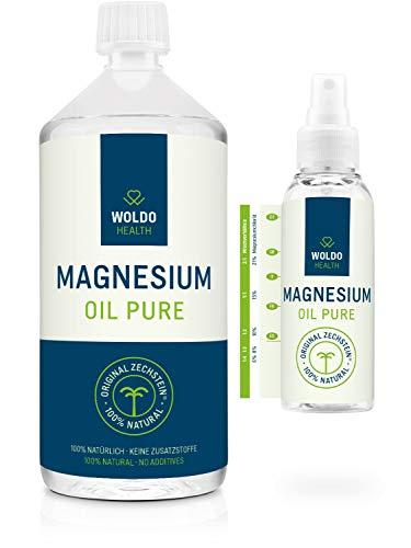 Magnesiumöl Set mit Sprayflasche hoher Magnesiumchlorid-Gehalt Magnesium Öl - Zechstein Magnesium-Spray mit hochdosierte Magnesium Chloride 1.000ml - Magnesium-Öl