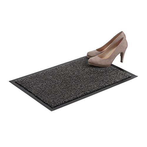 Relaxdays Schmutzfangmatte grau, Fußmatte Innen, Schmutzmatte groß, Fußabtreter dünn, Türmatte 40x60 cm, schwarz-grau