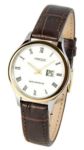 MARQUIS Damen Funkuhr, Bicolor Lederarmband, Gehäuse aus Edelstahl, Armbanduhr, Junghans-Uhrwerk 983.4705
