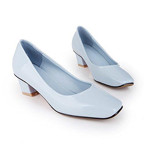 VogueZone009 Femme Tire à Talon Correct Pu Cuir Couleur Unie Carré Chaussures Légeres Bleu