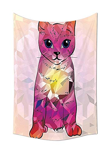 daawqee Cat Lover Collection Geometrc Digital Color Artistic Robot Cat with Technologic Patterns Little Retro Art Bedroom Living Room Dorm Pink Fuscia Unique Home Decor