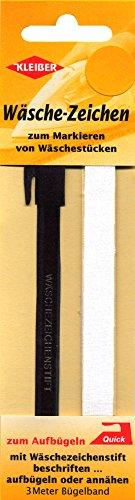 Kleiber Wäschezeichenset aus Kunststoff / Gewebe zum Aufbügeln