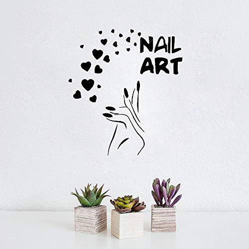 wlwhaoo Nails Art Nagelstudio Maniküre Pediküre Vinyl Wandtattoo Aufkleber für Beauty Salon Frisur Make Up Sticker Fensteraufkleber 74X81 cm -
