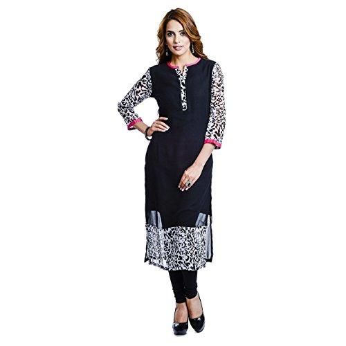 Khankan Women's Georgette 3/4 Sleeve And V-neck Long Straight Kurta Kurti (GT-KVG-BLGT-S_Black)
