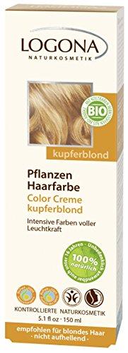 LOGONA Naturkosmetik Coloration Pflanzenhaarfarbe, Color Creme - 200 Kupferblond - Blond, Natürliche & pflegende Haarfärbung (150g)