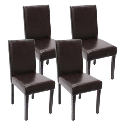 Mendler 4X Esszimmerstuhl Stuhl Küchenstuhl Littau ~ Kunstleder, braun dunkle Beine