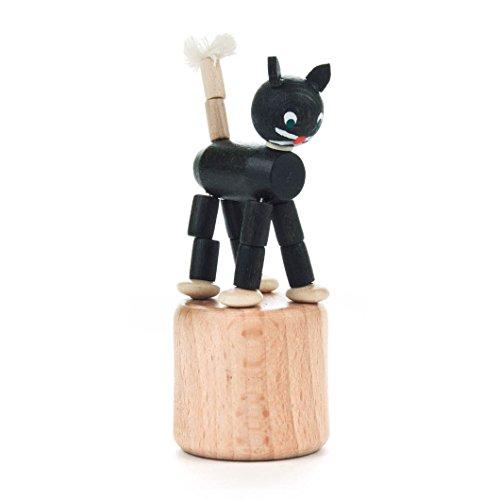 DREGENO Seiffen DREGENO Wackeltier, Wackelfigur Katze schwarz aus Holz, Geschenk für Kinder, 8 cm - Original erzgebirgische Handarbeit (Volkskunst Geschenk)