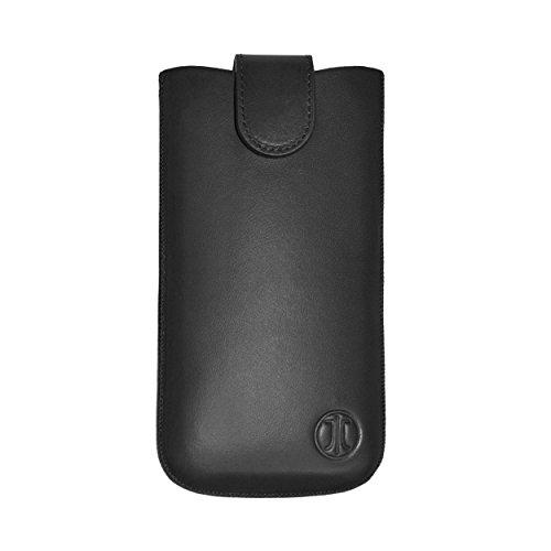 JT Berlin SlimCase Premium Echtledertasche für z.B. Apple iPhone 8 Plus, Samsung Galaxy Note 5 in schwarz [Größe 3XL I Handgefertigt I Gürtelschlaufe I Magnetverschluss I Logoprägung I