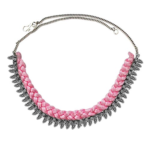 Women Fashion Jewellery New Collection Women Jewellery Silver::Pink Metal OxidisedDesign Necklace