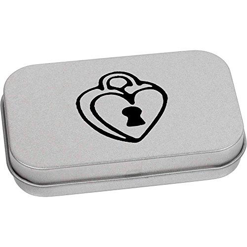 Azeeda 80mm x 50mm 'Corazón Candado' Caja Almacenamiento