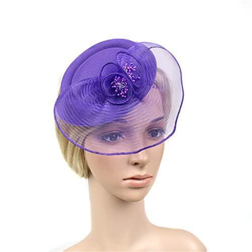 QIMANZI Frauen Mädchen Fascinators Hair Clip Haarnadel Hüte Feder Kopfschmuck Kopfbedeckung Cocktail Hochzeit Tea Party Hat (Lila) Guy White Hat