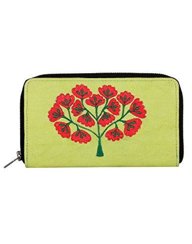 Antique Cotton Pochette ricamato Albero Di Rajrang Parrot Green & Red