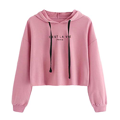 Damen Teenager Mädchen Pullover Hoodie Frauen Pulli Crop Tops MYMYG Langarm Kurz Sweatshirt Langarmshirt Oberteile Hoodie Crop Tops(Rosa,EU:36/CN-M)