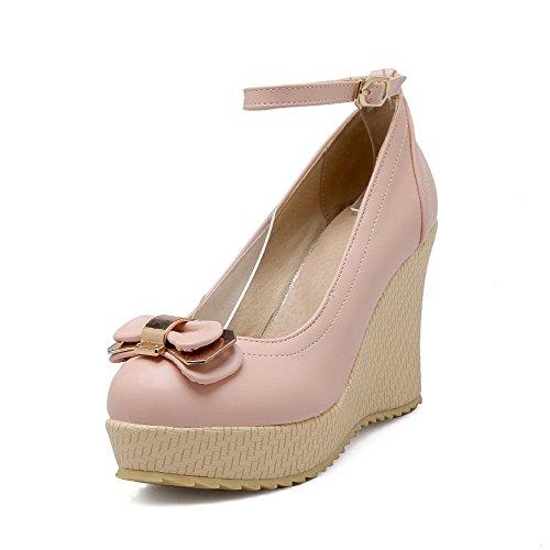145b21819aedcb AllhqFashion Damen Schnalle Rund Schließen Zehe Hoher Absatz Rein Pumps  Schuhe Pink