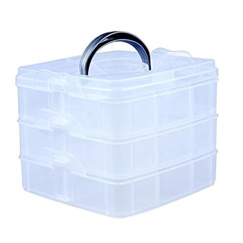 Kamay's Medium 3 Tier verstellbare Perle Handwerk Schmuck Werkzeug Storage Organizer, mit 18 Fächer, Container Box,