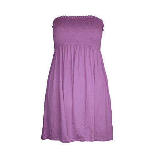 Be Jealous Sheering gerüscht, einfarbig, Jersey, Bandeau, trägerlos, ausgestellte Swing Top Lila