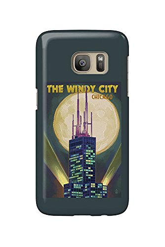 The Windy City - Chicago, Illinois - Willis Tower and Full Moon (Galaxy S7 Cell Phone Case, Slim Barely There)
