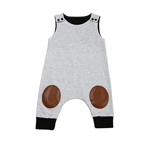Igemy Neugeboren Säugling Baby Jungen Mädchen Ärmelloser Overall Spielanzug Outfits Kleider (80, Grau)