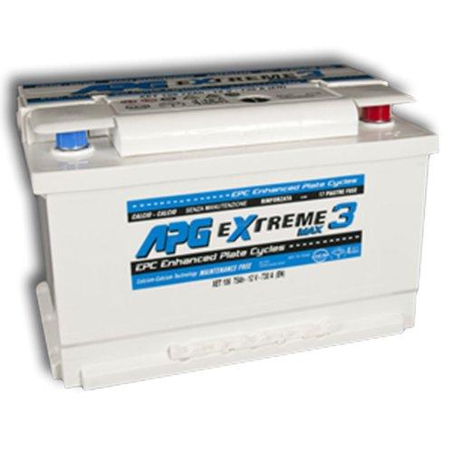 APG XET106 Extreme 3 Max - Batteria auto adatta anche per veicoli con sistema START & STOP in acido libero, 75Ah