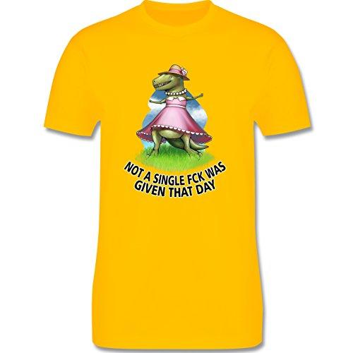 Statement Shirts - Not a single fck - T-Rex - Herren Premium T-Shirt Gelb