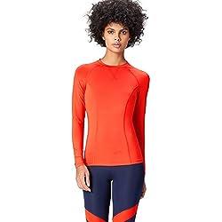Activewear Camiseta Deporte Manga Larga Mujer, Rojo (Sport Red), 38 (Talla del Fabricante: Small)