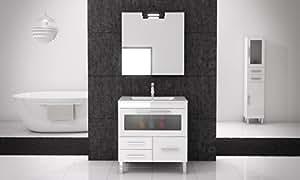 Mennza - Ensemble de salle de bain LONDRES CRISTAL meuble blanc brillant 60 cm